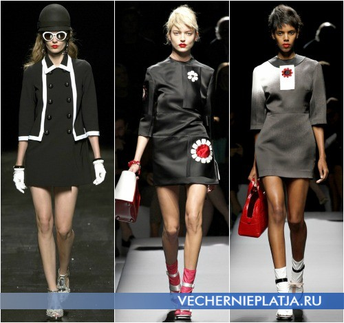 Черно-белое платье Moschino и мини-платья для весны 2013 от Prada