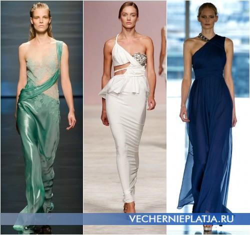 Весенние вечерние платья на одно плечо от Alberta Ferretti, Ermanno Scervino, Matthew Williamson