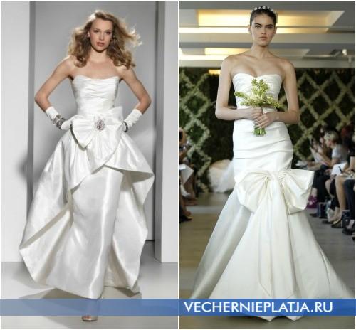 Свадебное платье с большим бантом спереди, на фото Justin Alexander, Oscar de la Renta