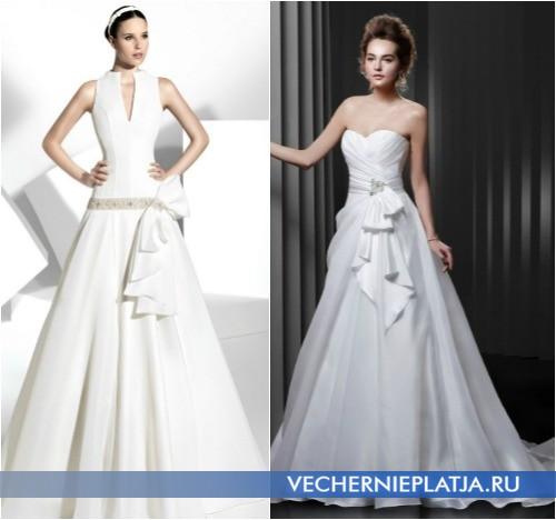 Украшение свадебного платья бантом фото, модели Franc Sarabia и Enzoani