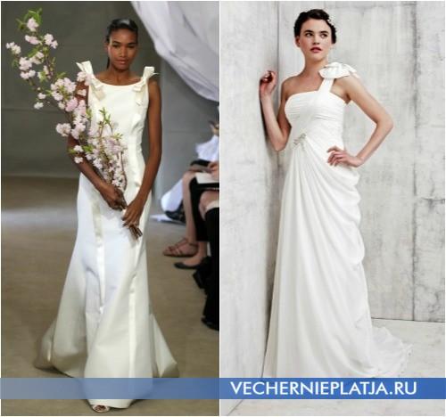 Свадебное платье с бантом на плече фото