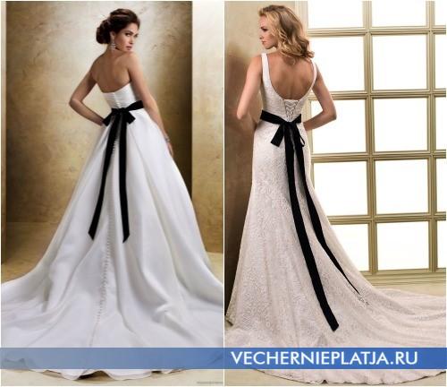 Шикарные свадебные платья с черным бантом фото