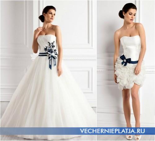 Красивые свадебные платья Elizabeth Passion с синим бантом фото