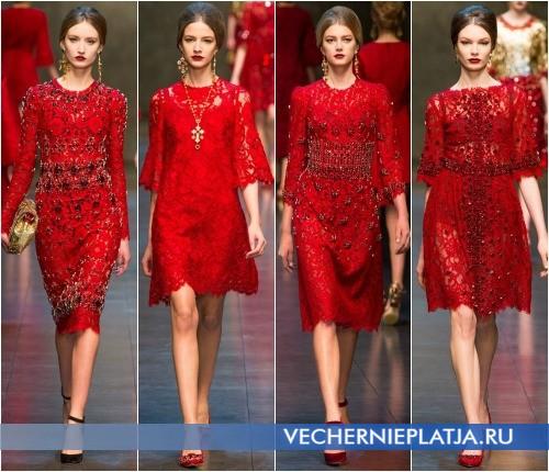 Кружевные ажурные платья красного цвета