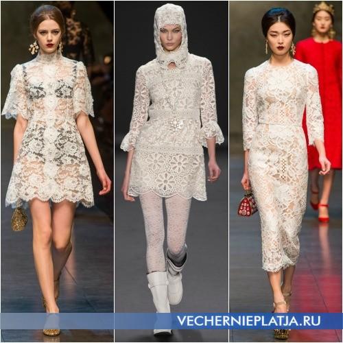 Модное ажурное белое платье фото