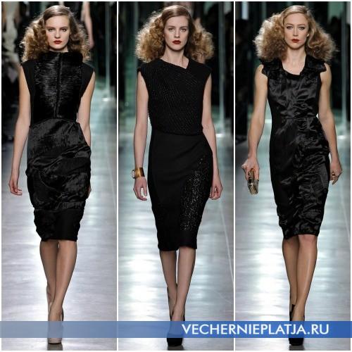 Платья средней длины черного цвета