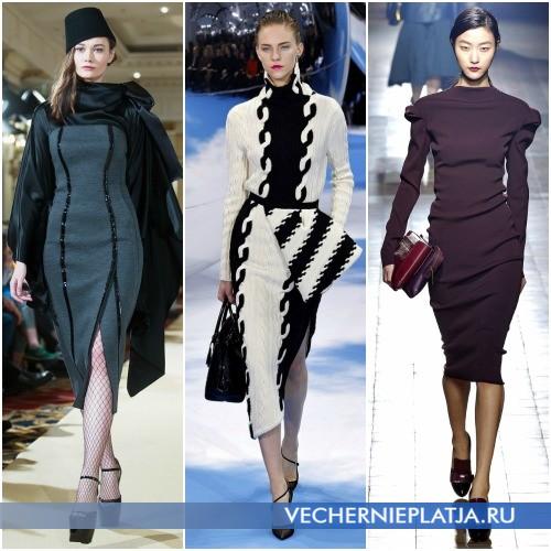 Закрытые фасоны платья миди на осень и зиму 2013-2014