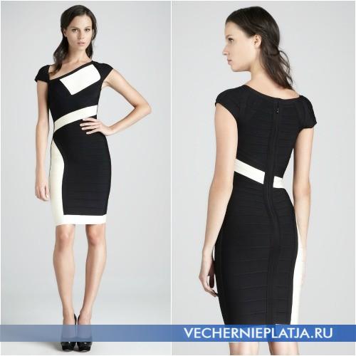 Черно-белое бандажное офисное платье