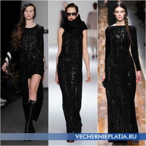 Блестящее черное платье фото