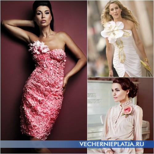 Украшаем платье цветами из ткани