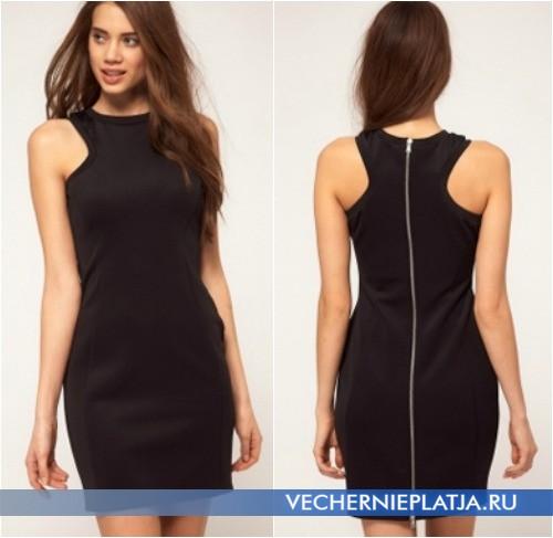 Черное платье с молнией на спине