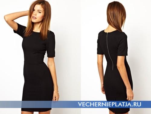 Красивое черное платье с молнией сзади фото