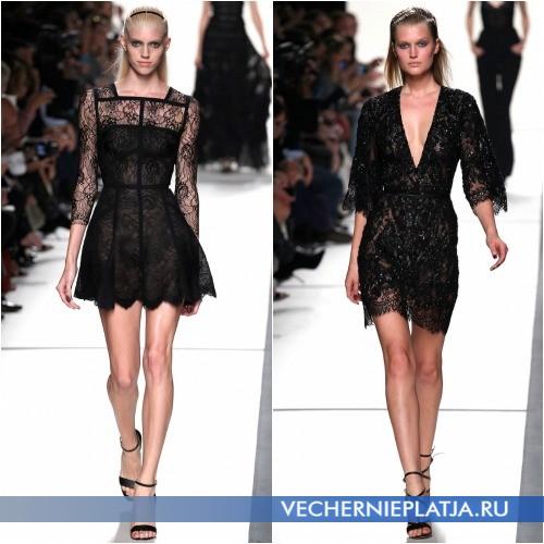 Короткие черные платья из гипюра