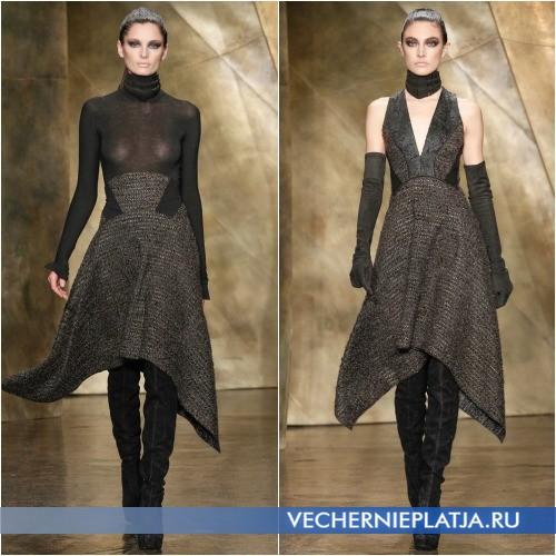 Асимметричное платье с юбкой оверсайз длины миди