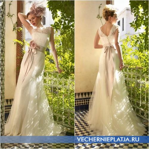 Кружевное свадебное платье Ампир для худых и стройных