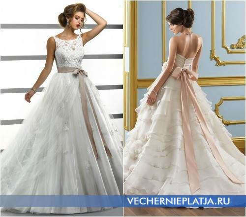 Свадебные платья для худых девушек с юбкой из пышных тканей