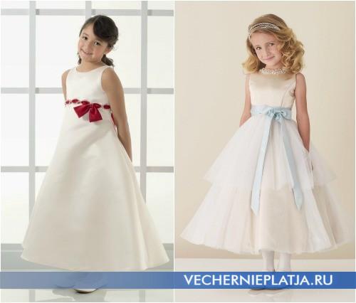 Белые детские платья на свадьбу с лентой на талии