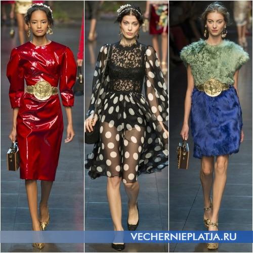 Разные фактуры весенних платьев 2014