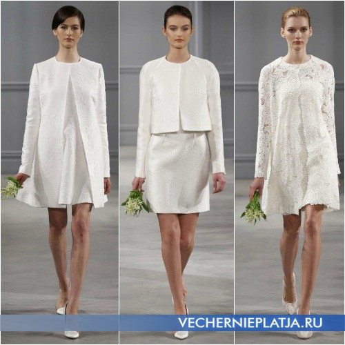 Накидки для короткого свадебного платья в виде пальто