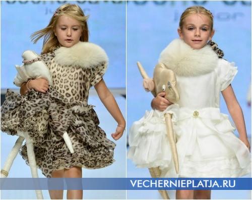 Новогодние платья для девочек с отделкой из меха, Roberto Cavalli