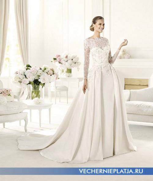 Свадебное платье в ретро стиле с кружевным декольте и рукавами