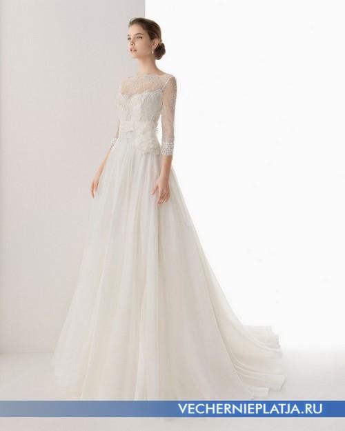 Элегантное свадебное длинное платье с прозрачными рукавами и декольте