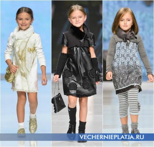 Теплые платья для девочек с меховым воротником