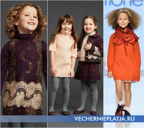 Теплое вязаное платье для девочки фото