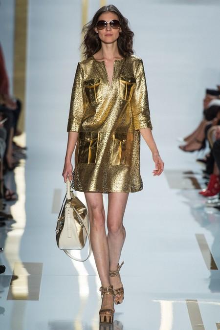 Золотистое платье-рубашка 2014 от Diane von Furstenberg