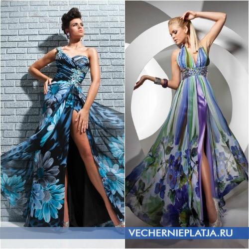 Модные платья на выпускной 2014 с принтом фото