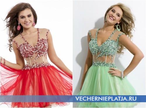 Короткие платья на выпускной 2014 с прозрачным корсетом фото