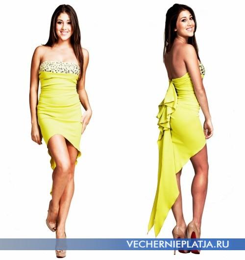 Фото короткого выпускного платья 2014 асимметричной длины