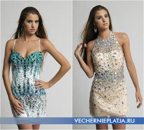 Мини-платья с камнями на выпускной вечер 2014