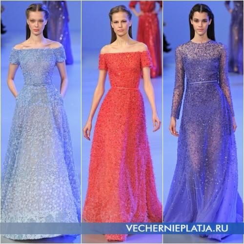 Длинные вечерние платья с паетками 2014