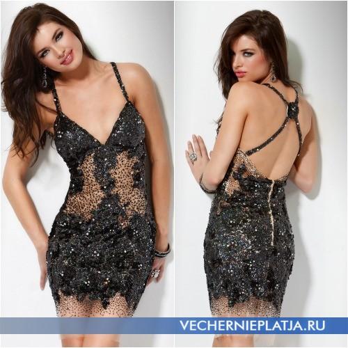 Черное платье с паетками фото
