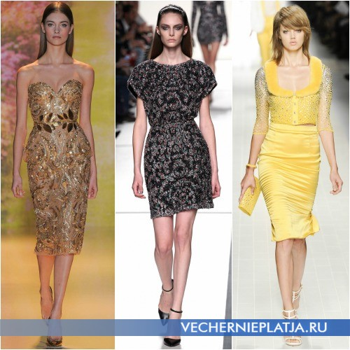 Короткие платья с паетками Весна-Лето 2014