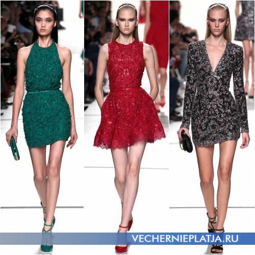 Модные мини-платья с паетками 2014 фото
