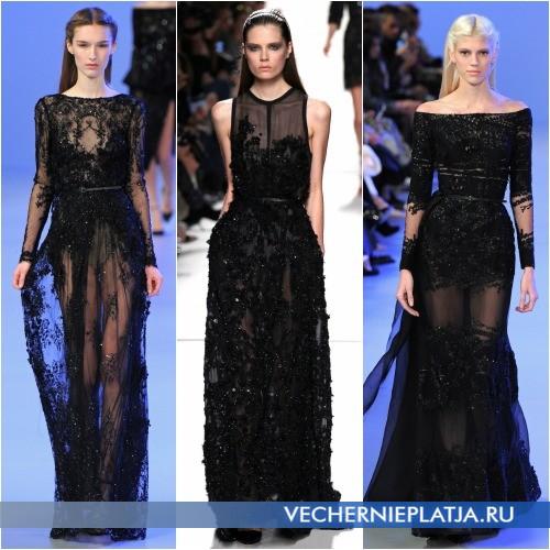 Длинные черные платья из кружева с паетками