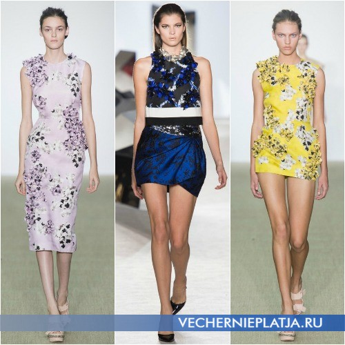 Тканевые аппликации на модных платьях Giambattista Valli