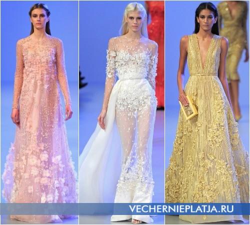 Вечерние прозрачные платья с аппликациями от Elie Saab