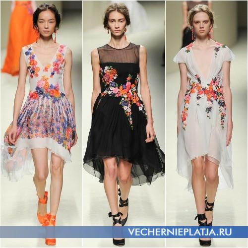 Асимметричные платья с аппликацией фото