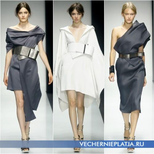 Интересные асимметричные фасоны платьев 2014 года