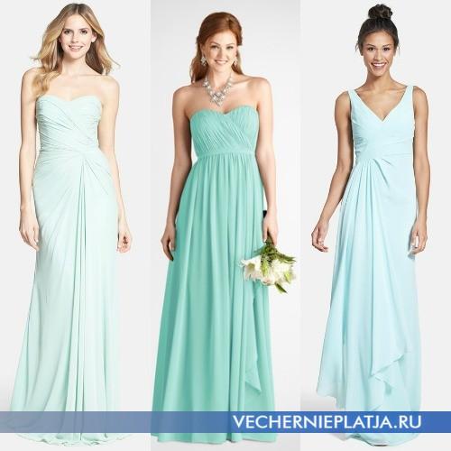 Длинные свадебные и вечерние мятные платья фото