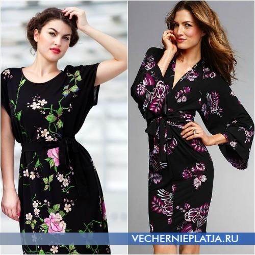 Платье-кимоно, скрывающее живот