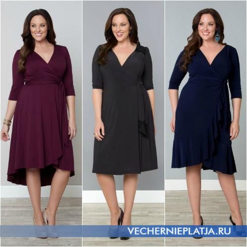 Платье деловое с запахом для полных женщин