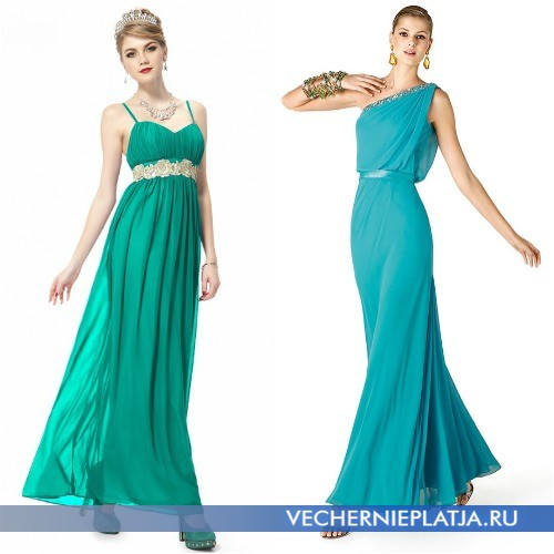С чем можно носить бирюзовое платье в пол