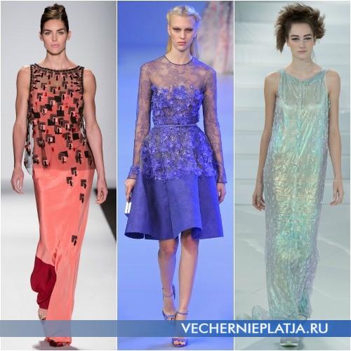 Расцветки вечерних платьев лето 2014