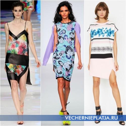 Модные платья 2014 лето с цветочным принтом