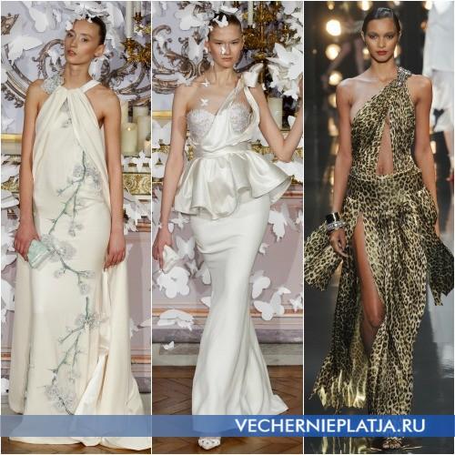 Вечерние и свадебные платья с асимметричным верхом на высоких девушек