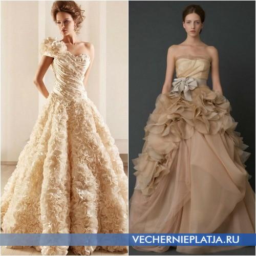 Нежные фактуры свадебного платья цвета шампань фото
